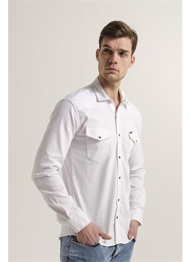 Oksit Hardy Çift Cep Detaylı Slim Fit Erkek Kot Gömlek Beyaz
